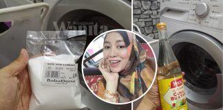 Cuci Mesin Basuh Front Loader Guna Cuka & Soda Bikarbonat, Elak Baju Bau Masam